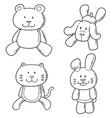 set of animal doll vector image vector image