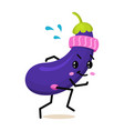 sports vegetable eggplant character cute healthy vector image