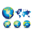 world map globes vector image vector image