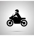 Motorcyclist simple black icon vector image