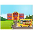 a school bus and kids infront of school vector image vector image