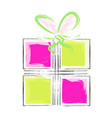 artistic gift box - pink and green colors vector image vector image