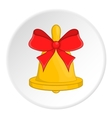 Bell with red bow icon cartoon style vector image vector image