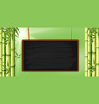 blank chalkboard with bamboo in background vector image vector image