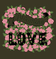 blooming love colorful romantic vintage art dark vector image vector image
