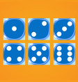 blue dices on an orange background vector image