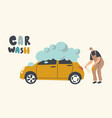 car wash service on auto station concept worker vector image vector image
