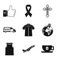 charity service icons set simple style vector image vector image