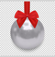 christmas ball with ribbon and a bow isolated on vector image vector image