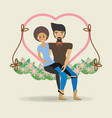couple sitting cute swing heart flower decoration vector image