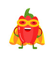 cute cartoon smiling red pepper superhero in mask vector image