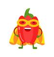cute cartoon smiling red pepper superhero in mask vector image vector image