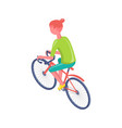 cyclist on bicycle sporty woman lifestyle vector image