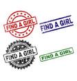 damaged textured find a girl stamp seals vector image vector image