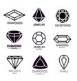 diamond logos jewels diamonds gems jewelry vector image vector image