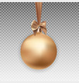 gold christmas ball with ball and ribbon on vector image