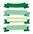 green ribbon banners sticker with shadow on white vector image vector image