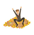 happy rich successful businessman character vector image