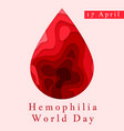 hemophilia world day poster emblem medical sign vector image vector image
