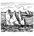 iceberg sketch hand drawn cartoo vector image