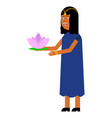 indian girl with lotus flower vector image