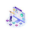isometric man and cv resume documents recruiting vector image vector image