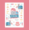 kitchen poster isolated icons dumplings vector image
