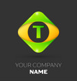 letter t logo symbol in colorful rhombus vector image vector image
