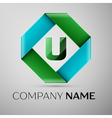 Letter U logo symbol in the colorful rhombus vector image vector image