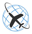 logo icon airplane flying around earth vector image vector image