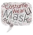 Make Your Own Costume Party Mask text background vector image vector image