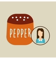 pepper shaker cook icon woman vector image