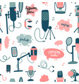 podcast flat hand drawn doodle elements seamless vector image
