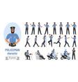 policeman poses cartoon set bearded professional vector image