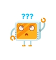 Puzzled Little Robot Character vector image vector image