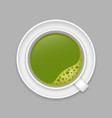 realistic matcha cup top view vector image vector image