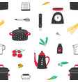 seamless pattern with hand drawn kitchen utensils vector image vector image