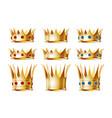 set golden crowns for king vector image