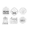 set hand drawn signs for circus and vector image vector image