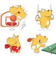 set of hippos cartoon vector image vector image