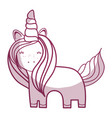silhouette beautiful unicorn with horn and mane vector image vector image