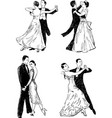 sketches of couples dancing ballroom dances vector image