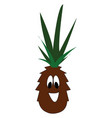 smiling brown pineapple with green leaves on vector image vector image