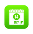 spiral calendar page 14th of may icon digital vector image