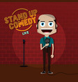 stand up comedy comic guy on stage vector image