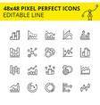 stroke diagram icons and bar charts vector image