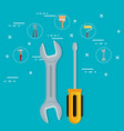 tools with under construction equipment vector image vector image