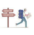 traveler walking with hat and backpack looking at vector image vector image