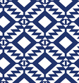 Tribal blue and white geometric seamless pattern vector image