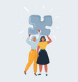 two woman stay together and hold puzzle above vector image vector image